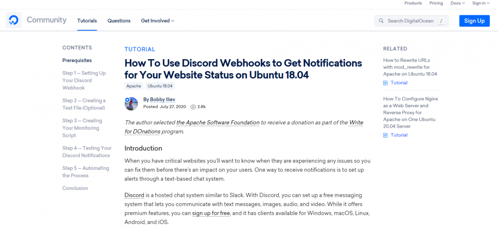 How To Use Discord Webhooks to Get Notifications for Your Website Status on Ubuntu 18.04