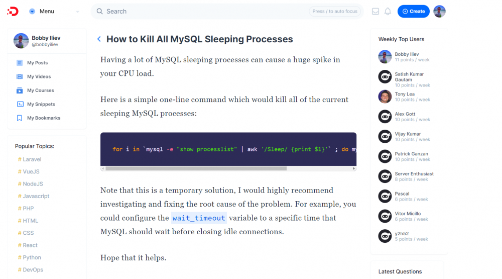 How to Kill All MySQL Sleeping Processes