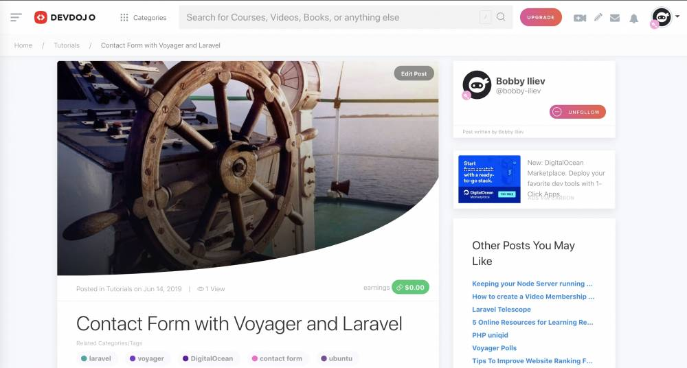 Contact Form with Voyager and Laravel (Step by Step guide)