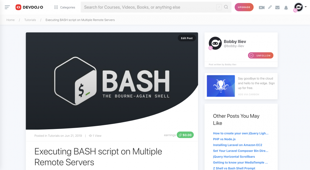 Executing BASH script on Multiple Remote Server - DevDojo Post