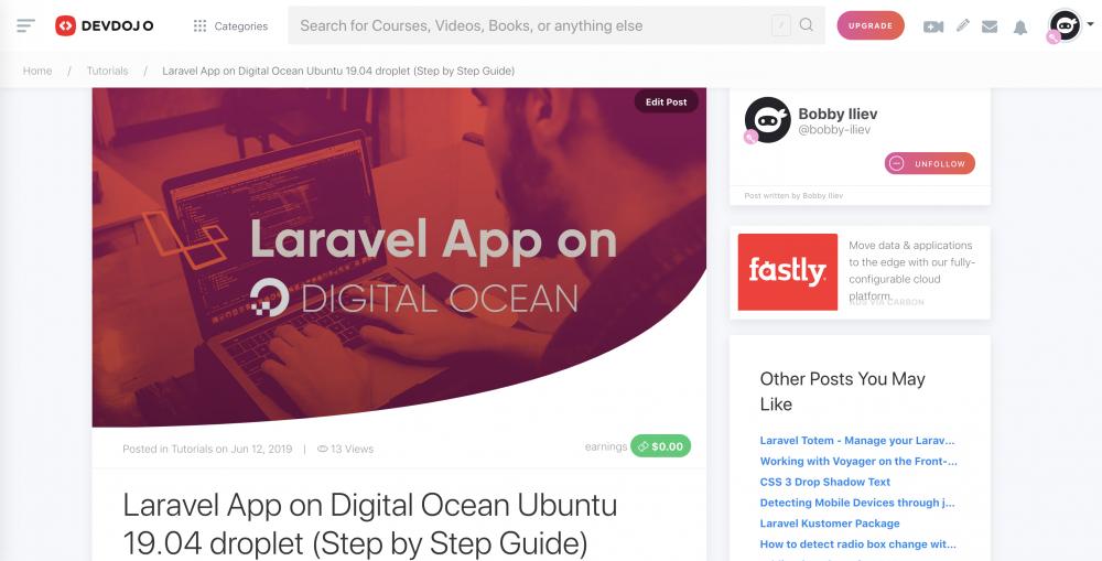 Laravel App on Digital Ocean Ubuntu 19.04 droplet