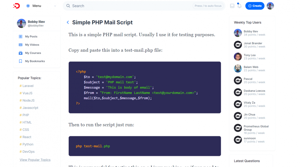 Simple PHP Mail Script