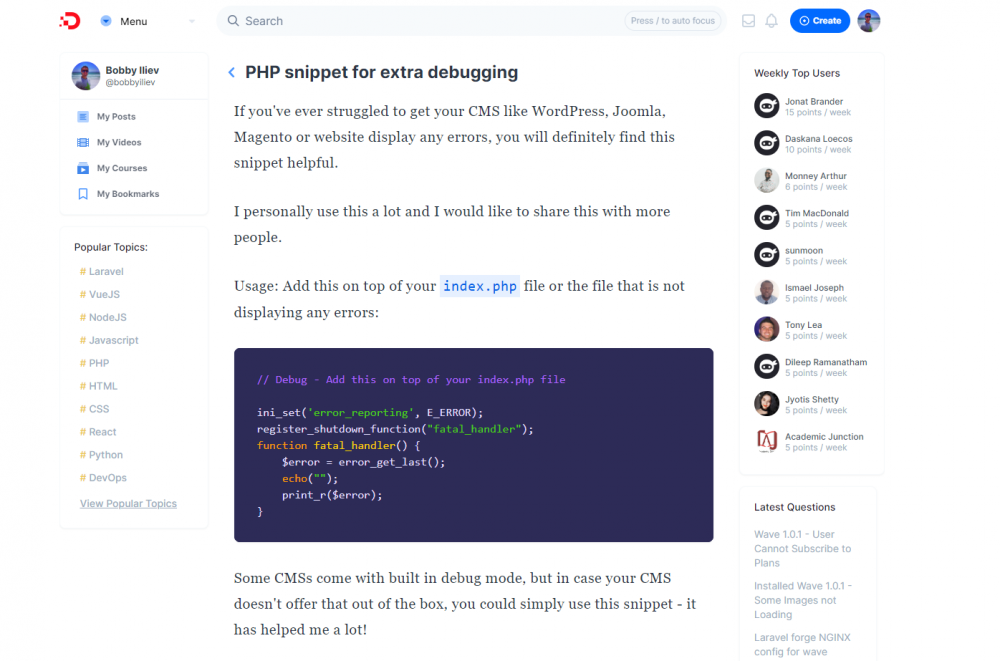 Nice PHP snippet for extra debugging - especially useful for lots of CMSs (WP/Joomla/Concrete5/etc.)