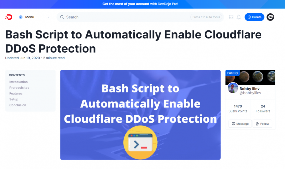Enable CloudFlare DDoS Protection Automatically