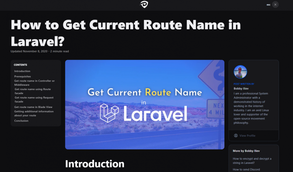 How to Get Current Route Name in Laravel