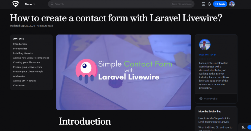 How create a contact form with Laravel Livewire?