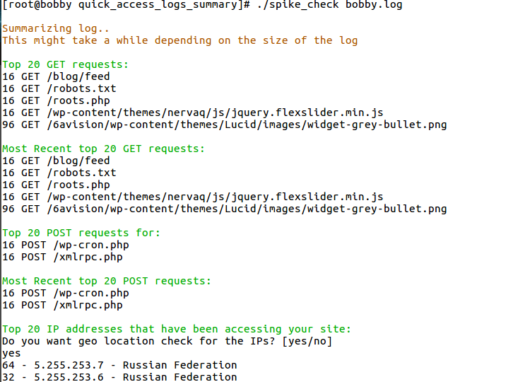 Bash script which will summarise your access logs and check